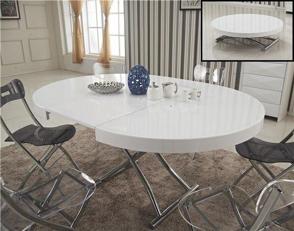 table basse ronde relevable et extensible saturna xl blanche diametre 120 cm. Black Bedroom Furniture Sets. Home Design Ideas