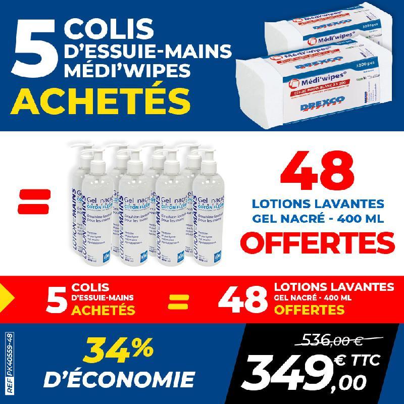 Pack 5 colis essuie-mains medi\'wipes +24 savons liquides aloé véra 500 ml