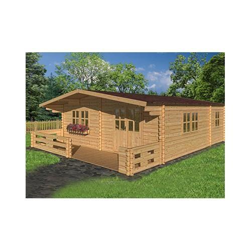 Chalet en bois plain-pied Lipki / madrier 44 mm / 44.8 m² / toit double pente