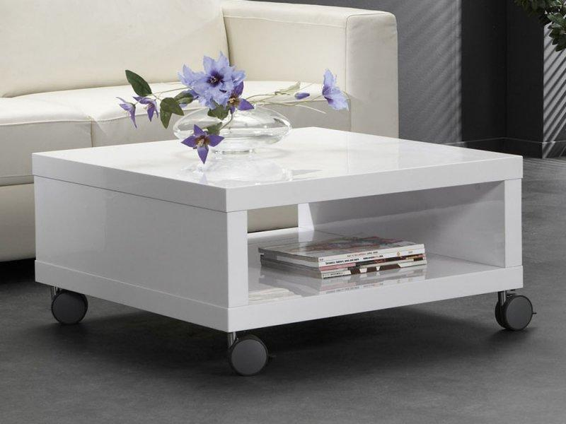 table basse mobile elegance avec rangements laquee blanc brillant. Black Bedroom Furniture Sets. Home Design Ideas