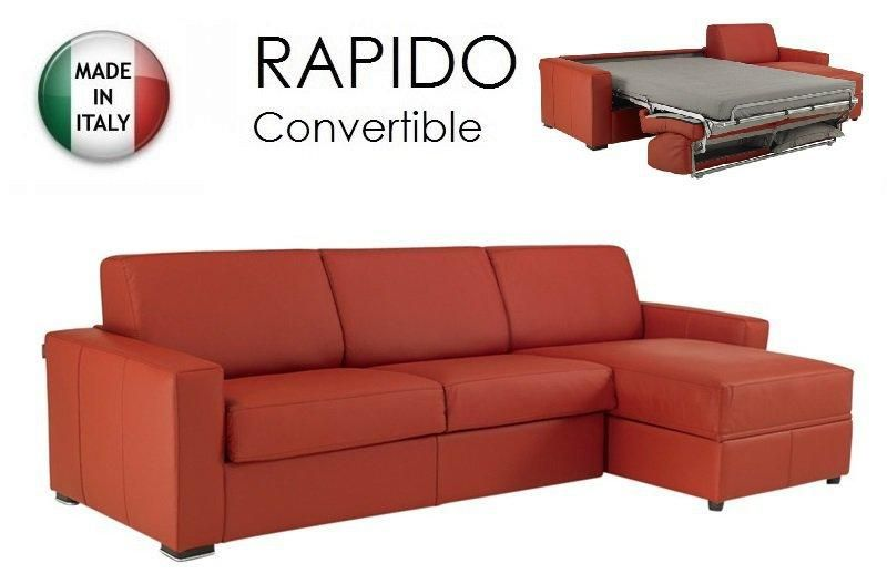 piece unique canape d 39 angle dreamer convertible rapido 160cm cuir eco rouge couchage quotidien. Black Bedroom Furniture Sets. Home Design Ideas