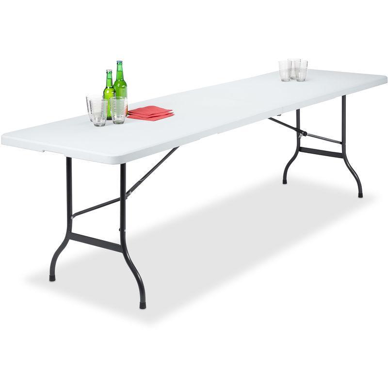 TABLE DE JARDIN PLIANT PLASTIQUE PORTABLE VALISE RÉSISTANT INTEMPÉRIES  CAMPING CADRE MÉTAL 73X240X70CM, BLANC - RELAXDAYS