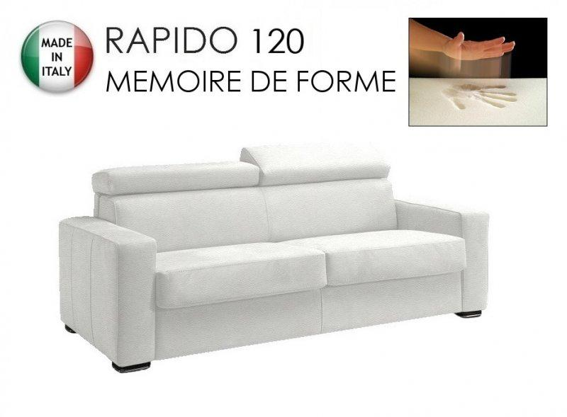 canape rapido sidney deluxe memory matelas 120 14 190 cm memoire de forme cuir vachette blanc. Black Bedroom Furniture Sets. Home Design Ideas