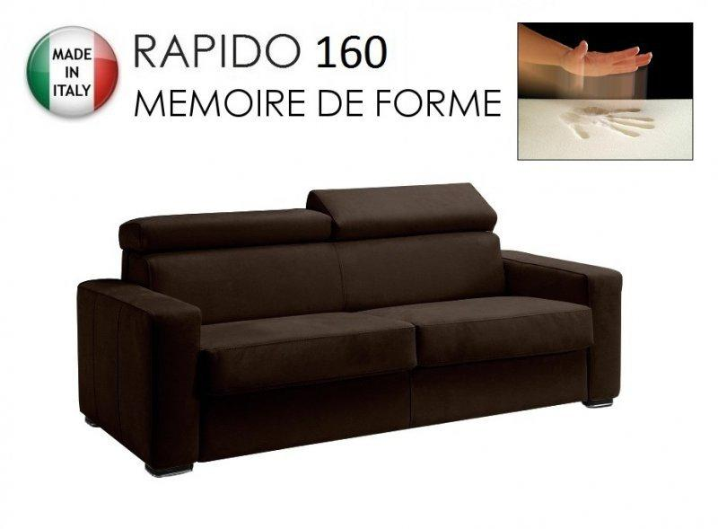 canape rapido sidney memory matelas 160 14 190 cm memoire de forme cuir eco marron. Black Bedroom Furniture Sets. Home Design Ideas