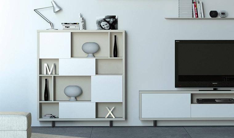 Meuble Bibliotheque Design Sur Pieds Fins Blanc Vison
