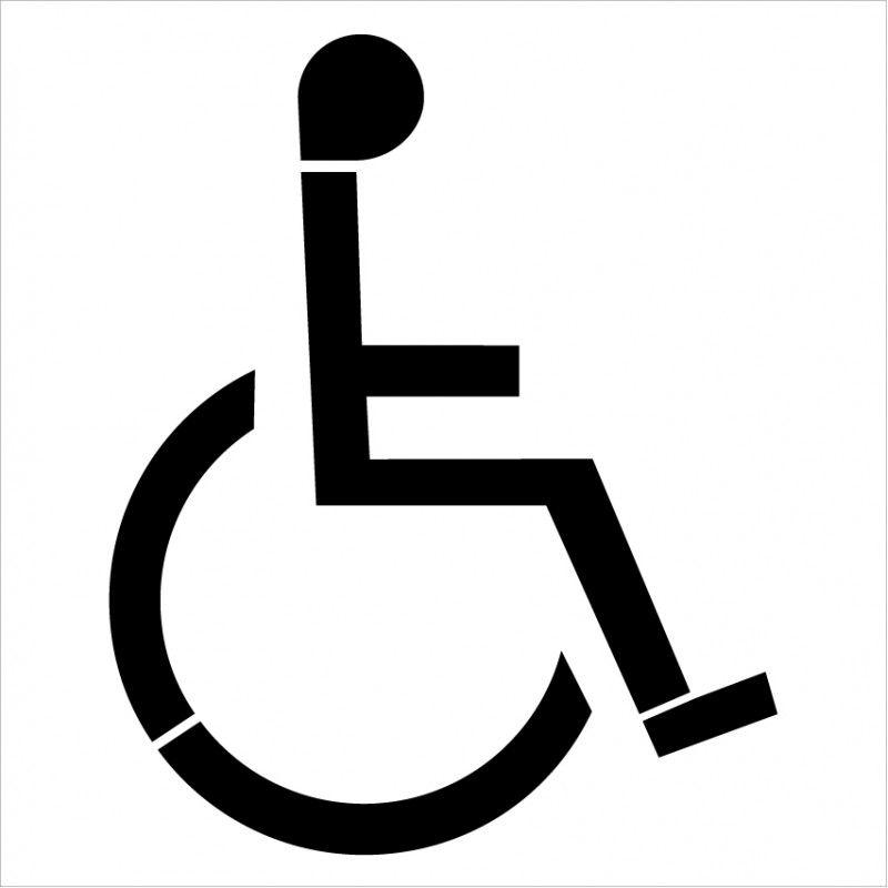 W0110 - pochoir handicapé - signalétique biz - avec peinture blanche