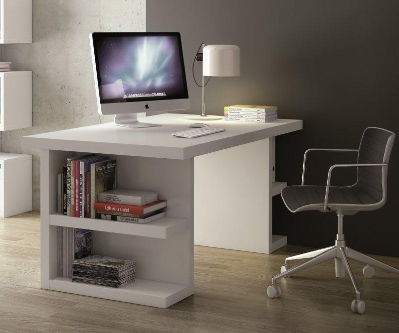 bureau design temahome multi storage 160 x 90 blanc. Black Bedroom Furniture Sets. Home Design Ideas