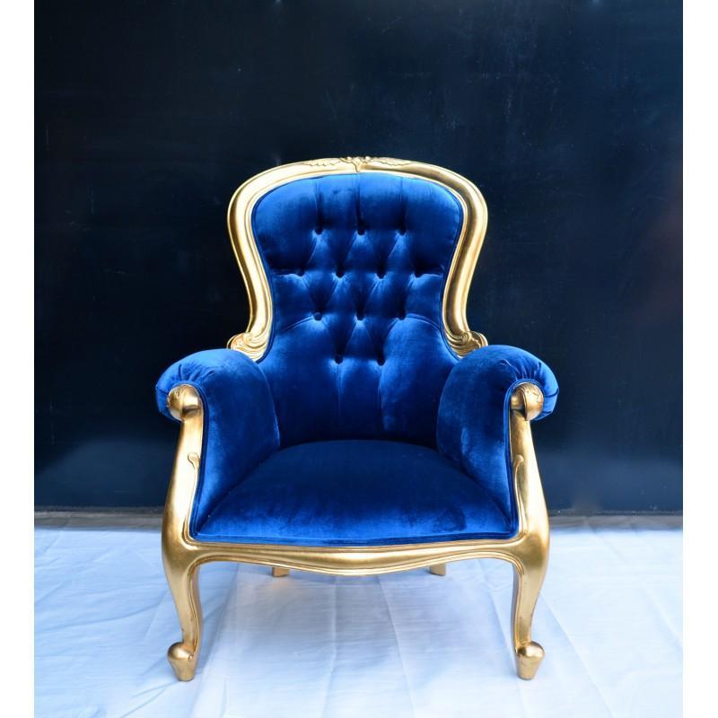 fauteuil velours bleu. Black Bedroom Furniture Sets. Home Design Ideas