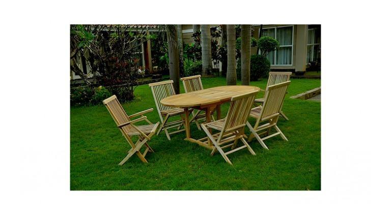 KAJANG : SALON DE JARDIN TECK MASSIF 6 PERSONNES - TABLE OVALE + 4 CHAISES  + 2 FAUTEUILS - CONCEPT-USINE