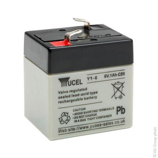 Batterie plomb agm yucel y1-6 6v 1ah f4.8