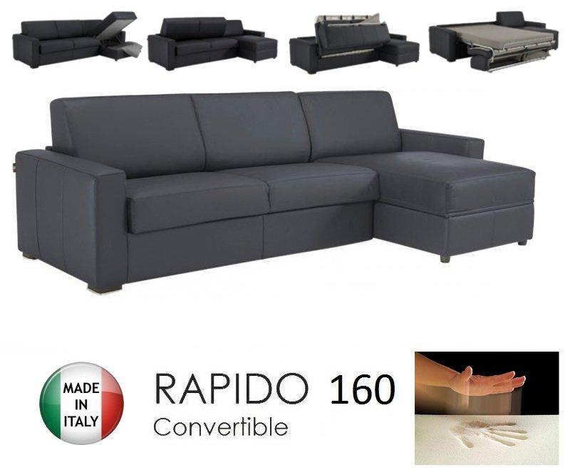 Canape d 39 angle dreamer rapido 160cm cuir vachette gris graphite matelas - Canape d angle rapido ...
