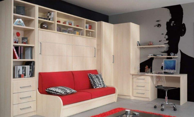 armoire lit avec canape campus jacquelin etageres angle. Black Bedroom Furniture Sets. Home Design Ideas