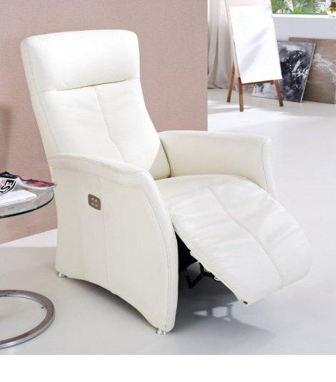 kingston fauteuil relax electrique cuir vachette blanc. Black Bedroom Furniture Sets. Home Design Ideas