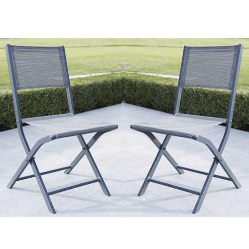 lot de 2 chaises de jardin pliantes modulo grise comparer les prix de lot de 2 chaises de jardin. Black Bedroom Furniture Sets. Home Design Ideas