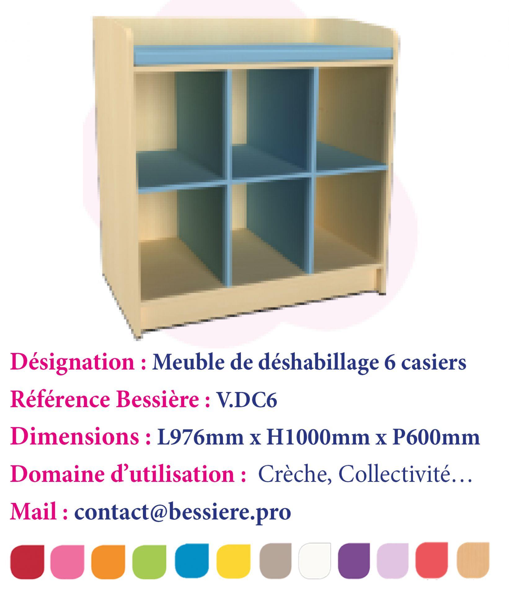 Meuble de deshabillage 6 casiers sans portes for Meuble 6 casiers