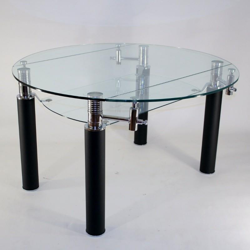 Table en verre ronde rallonge extensible nero 130 cm - Table de cuisine ronde en verre ...