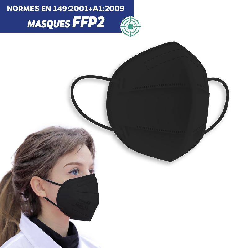 Masque de protection respiratoire ffp2 noir - boite de 20