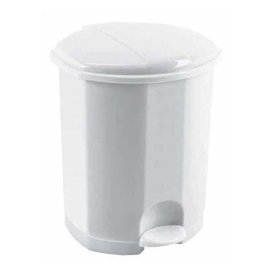 ed45cfa54869b Poubelle à pédale en plastique ronde blanche 50l rossignol