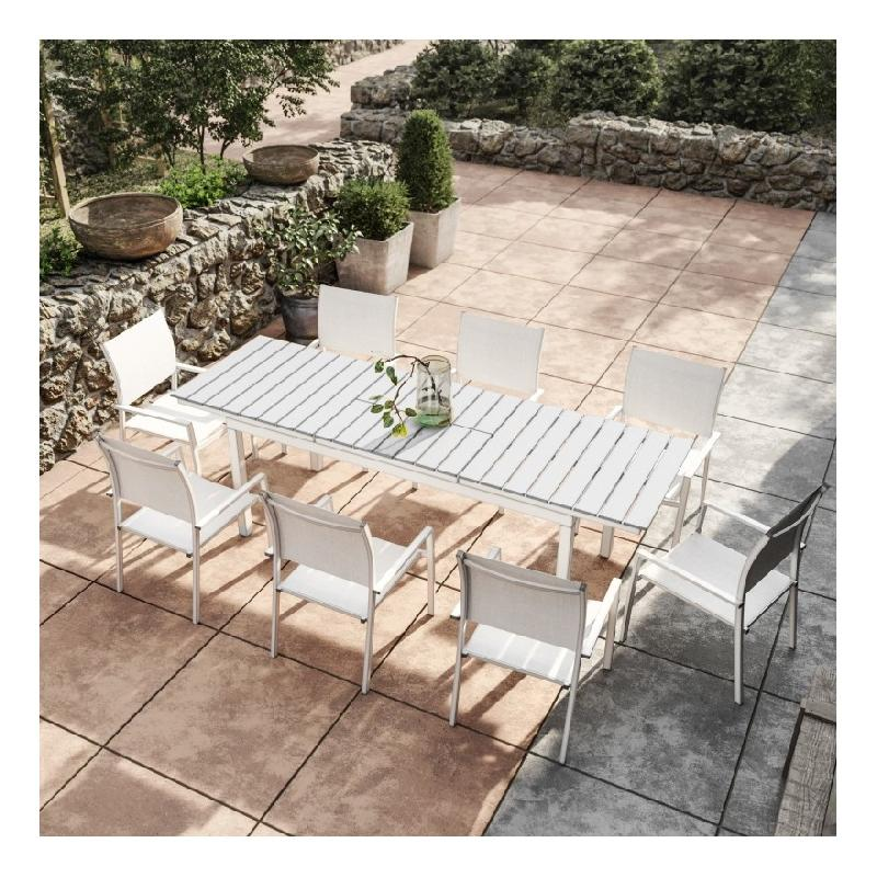 TABLE DE JARDIN EXTENSIBLE ALUMINIUM BLANC GRIS 180/240CM + 8 FAUTEUILS  EMPILABLES TEXTILÈNE - PALMA 8 - AVRIL PARIS