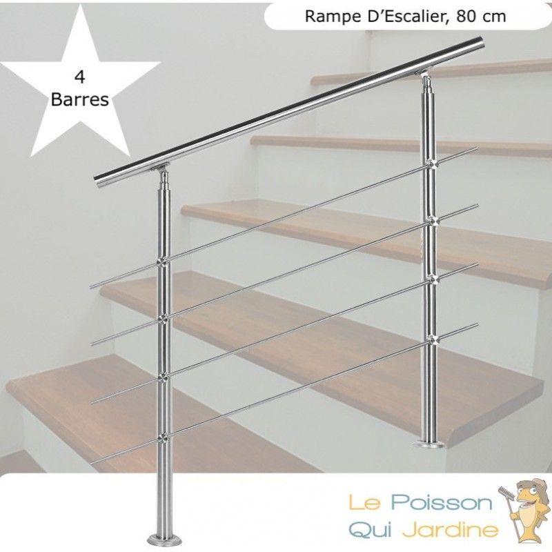 RAMPE D'ESCALIER SUR PIED, 80 CM, ACIER INOXYDABLE, 4 BARRES - ACIER - LE POISSON QUI JARDINE