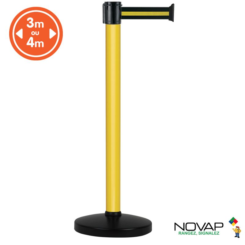 Poteau alu jaune à sangle noir/jaune sur socle portable - novap