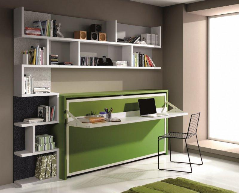 armoire lit transversale city avec bureau et etageres couchage 90 190cm. Black Bedroom Furniture Sets. Home Design Ideas