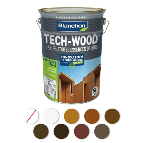 LASURE - ACRYLIQUE POLYURÉTHANE - SATINÉ - ANTI-UV - TECH-WOOD BLANCHON