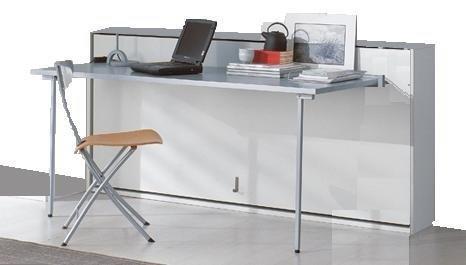 lit bureau escamotable benzo transversale lit 1 personne couchage 90 15 195 cm. Black Bedroom Furniture Sets. Home Design Ideas