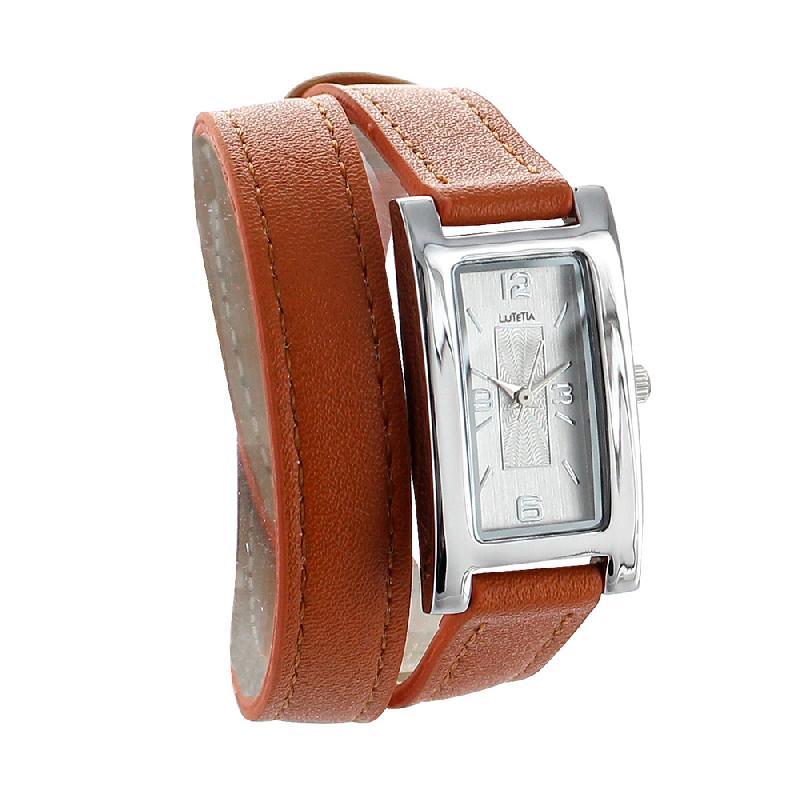 Montre lutetia boîtier métal rectangle et bracelet cuir de bovin double tour marron clair