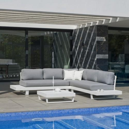 SALON DE JARDIN - ALUMINIUM ANTHRACITE - COUSSINS GRIS CLAIR - AMAYES  INDOOR OUTDOOR