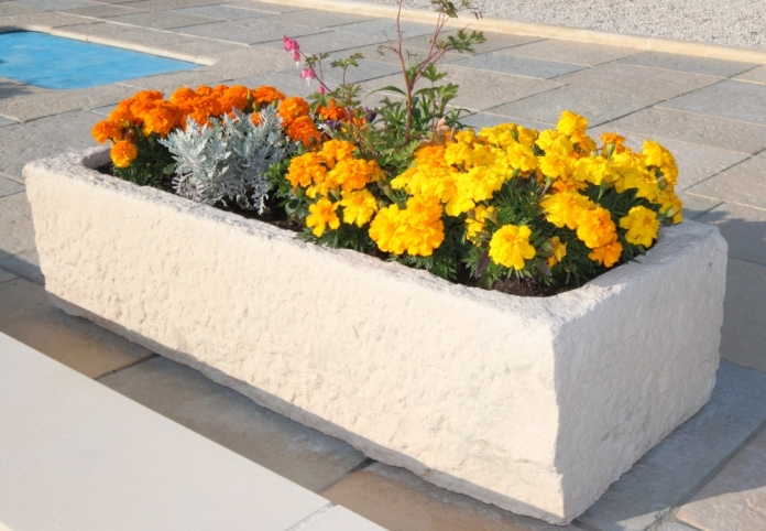 Pot en pierre reconstituee max min - Pot exterieur rectangulaire ...