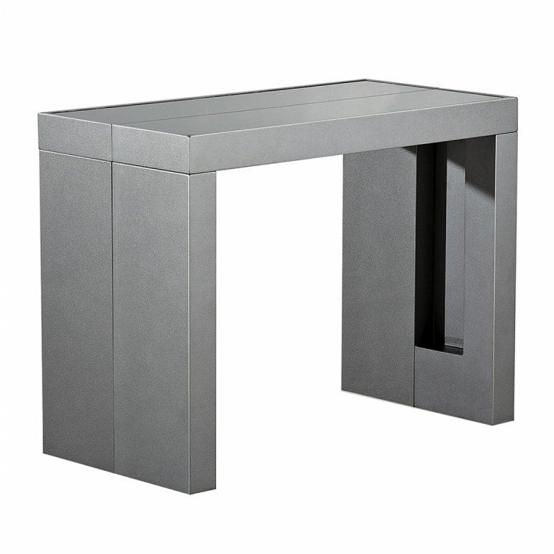 Console extensible space rallonges integrees gris metalisee for Table extensible avec rallonges integrees