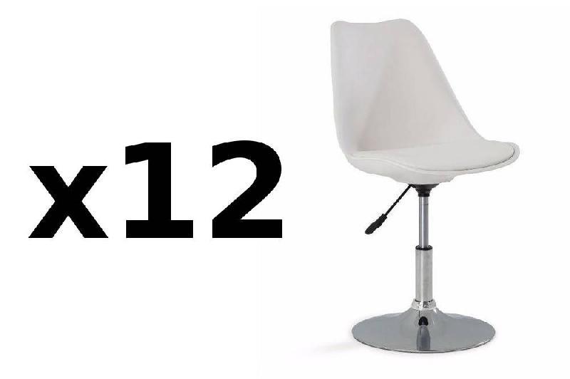 Lot de 12 chaises de bureau reglable paris similicuir blanc