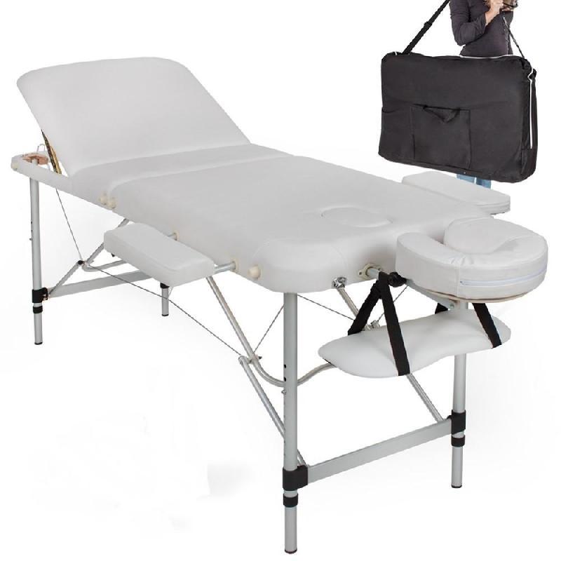 Table de massage pliable rembourrage épais pliante 3 zones aluminium portable + housse blanc 2008001