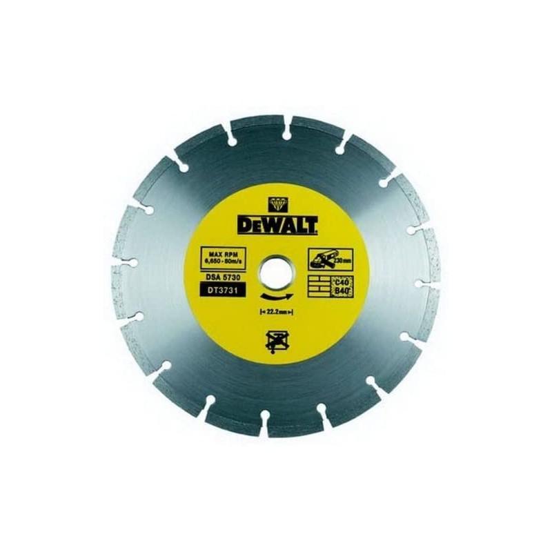 Dewalt dt3731-qz disque fritté segmenté pour matériaux de construction/béton 230x22.2mm 22.2