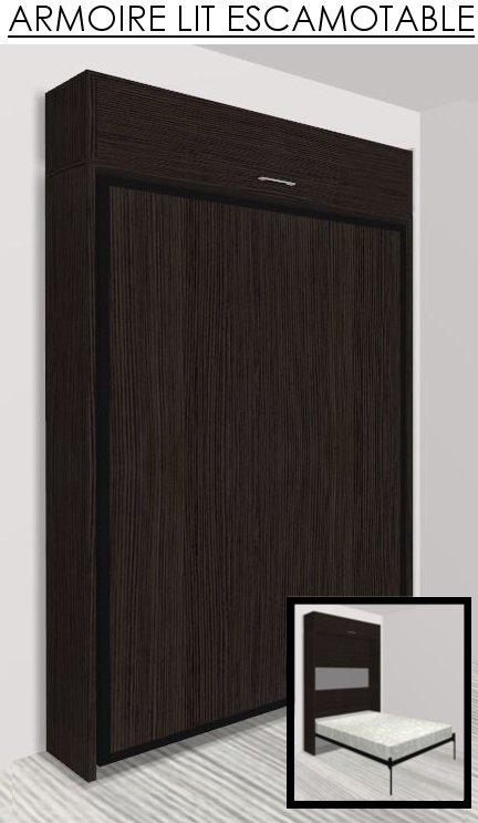 armoire lit escamotable eos chene noir couchage 140 22 200 cm. Black Bedroom Furniture Sets. Home Design Ideas