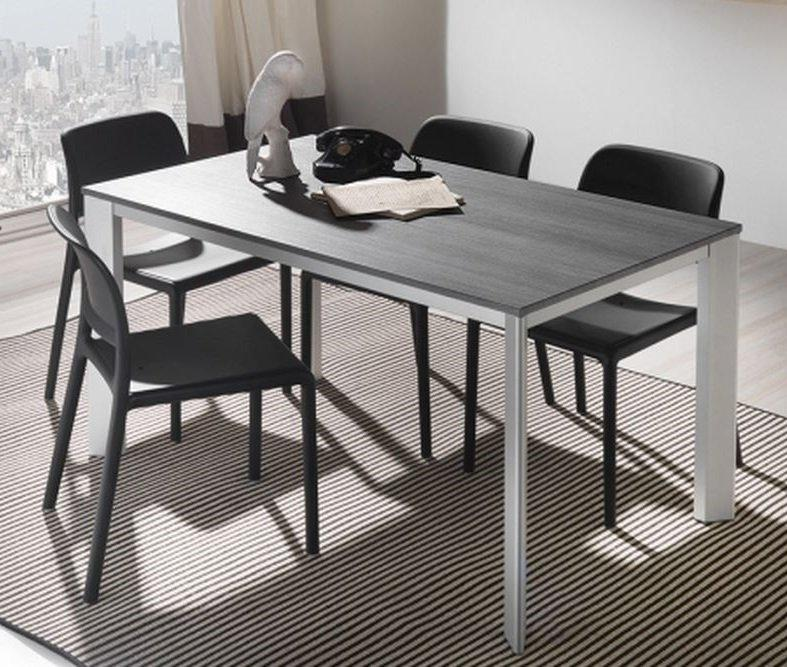 table repas extensible tecno 130 x 80 cm en polymere gris et aluminium. Black Bedroom Furniture Sets. Home Design Ideas