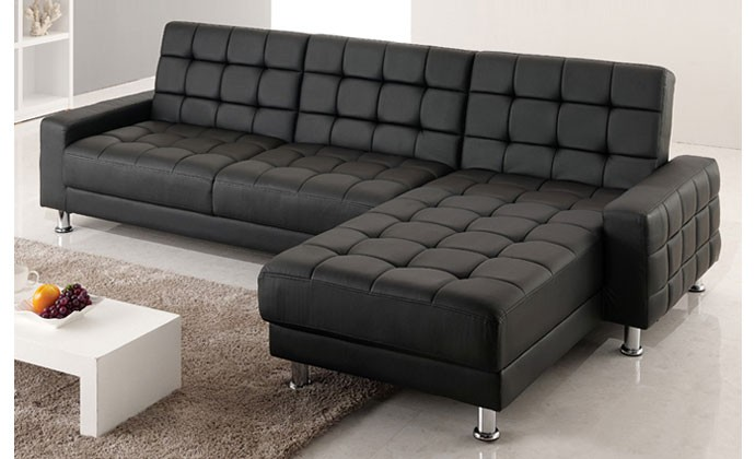 callisto canape d 39 angle 3 4 places convertible lit noir. Black Bedroom Furniture Sets. Home Design Ideas