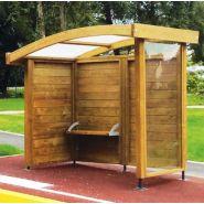 Abri bus Liberty / structure en bois / bardage en bois / avec banquette / 262 x 159 cm