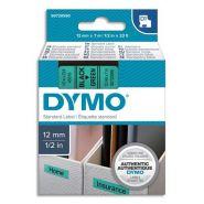 DYMO RUBAN D1 NOIR/VERT 12MMX7M POUR 1000/1000+/2000/3500/4500/5000/5520