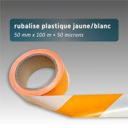 Ruban de chantier - rubalise - plastique 50mm*100m - jaune/blanc