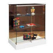 Vitrine d'exposition mobile comptoir en verre trempé sécurit avec serrure - couleur blanc mat ou noir mat