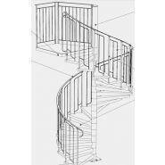 Escalier hélicoïdal Basic - Constructions Industrielles Du Rhone - Diamètre fût central 101.6 mm - Diamètre 1400 à 3800 mm
