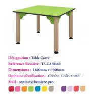 TABLE CARRÉ AVEC 2 PIETEMENTS À ROULETTES