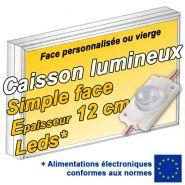 Caisson lumineux LED simple face - Patt'a pub - Epaisseur 12 cm