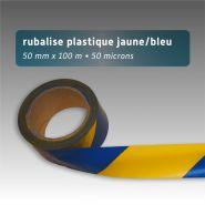 Ruban de chantier - rubalise - plastique 50mm*100m - jaune/bleu