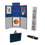Kit stand 6 panneaux + 1 pancarte + 1 prÉsentoir nylon 4 poches + sacs transport