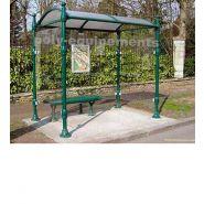 Abri bus Adour / structure en aluminium / bardage en verre sécurit / avec banquette