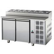 Table réfrigérée et meuble inox pour snack 2 portes pour professionnel