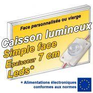 Caisson lumineux LED simple face - Patt'a pub - Epaisseur 7 cm